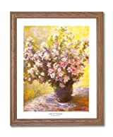 Claude Monet Vase And Flowers Home Decor Wall Picture Oak Framed Art Print