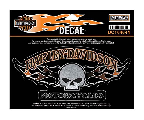 Harley-Davidson Willie G Skull Flames Decal, Large Size Sticker DC164644 (Harley Davidson Decal Large compare prices)