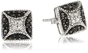 Sterling Silver Black and White Diamond Fashion Earrings (1/5 cttw, H-I Color, I2 Clarity)