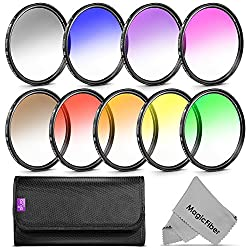 58MM Complete Graduated Color Lens Filter Set for CANON Rebel T5i T4i T3i T2i T1i SL1 EOS 700D 650D 600D 550D 500D 100D DSLR Cameras with a 18-55MM Zoom Lens - Includes: Red Orange Blue Yellow Green Brown Purple Pink and Gray ND Filters + MagicFiber Microfiber Lens Cleaning Cloth