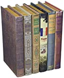 """Deco 79 50293 Wood Fabric Book Box (Set of 6), 6"""" by 9"""""""