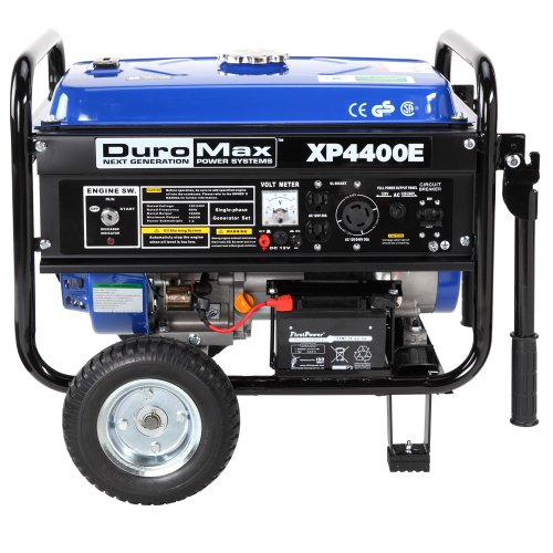 51KMlHWHpGL. SL500  DuroMax XP4400E 4,400 Watt 7.0 HP OHV 4 Cycle Gas Powered Portable Generator With Wheel Kit And Electric Start