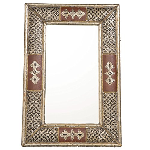 24 Inch Handmade Moroccan Metalwork And Leather Mirror