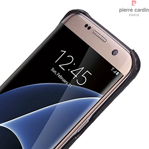 hot sale online 7f451 a7b2b ian's samsung pierre cardin case back LEATHER Cover For Samsung Galaxy S7  Edge black
