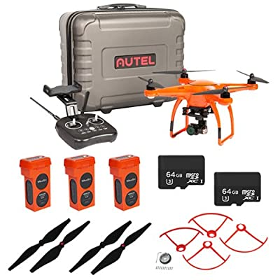 Autel Robotics X-Star Premium Drone with 4K Camera, HD Live View (Orange) EVERYTHING YOU NEED KIT + 3 Total X Star Batteries + 2 Total 64GB Micro SDXC Cards + Propeller Guards, Propellers & Hard Case by Autel Robotics