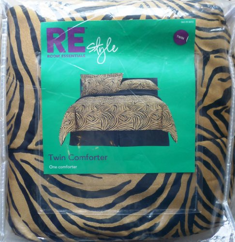 Re Style Zebra Pattern Tan/Black Twin Comforter front-878463