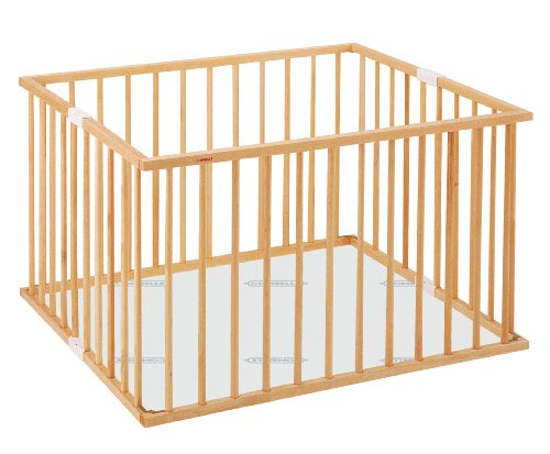 Wooden foldable playpen with bottom and foam carpet, natural varnish