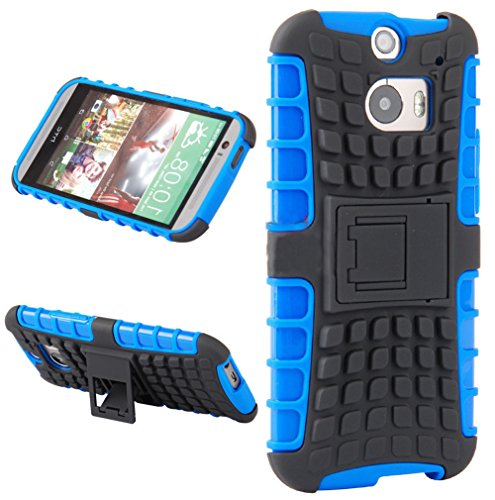 Mylife Deep Sky Blue And Black {Rugged Design} Two Piece Neo Hybrid (Shockproof Kickstand) Case For The All-New Htc One M8 Android Smartphone - Aka, 2Nd Gen Htc One (External Hard Fit Armor With Built In Kick Stand + Internal Soft Silicone Rubberized Flex