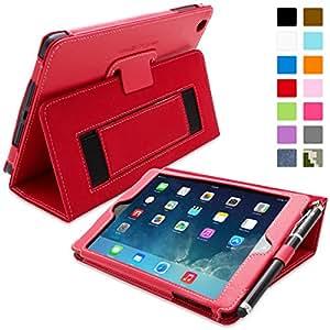 Snugg iPad Mini & Mini 2 Case - Smart Cover with Flip Stand & Lifetime Guarantee (Red Leather) for Apple iPad Mini & Mini 2 with Retina