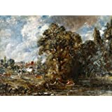A river scene with farmhouse near the water's edge, by John Constable (Print On Demand)