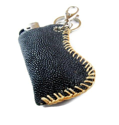 Handmade Black Stingray Leather Keychain Clips Lighter Case (St1)