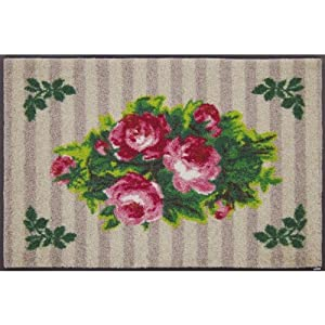 【wash+dry】玄関・キッチンマット Country Roses Beige(花柄 薔薇(バラ))50x75cm