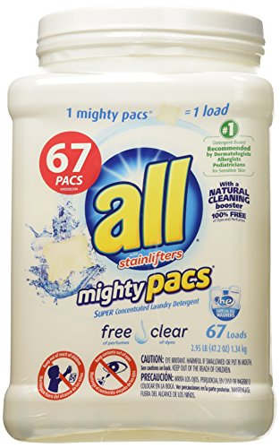 All Mighty Pacs Laundry Detergent, Free Clear, Tub, 67 Count