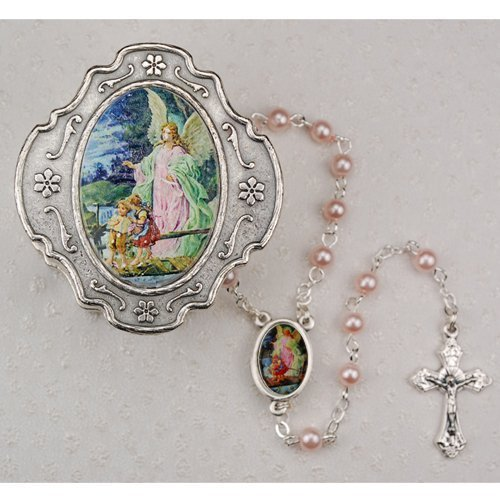 Guardian Angel Pink Rosary with Box Baptism Christening Communion Gift