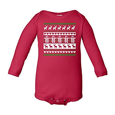 Baby Long Sleeve: Ugly Snowman Christmas Sweater Bodysuit