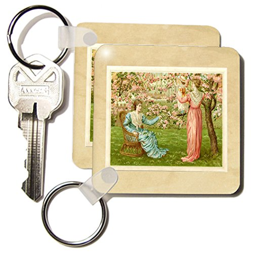 Kc_193211_1 Florene - Victorian - Print Of Painting Of 2 Ladies And Baby With Cherry Blossoms - Key Chains - Set Of 2 Key Chains front-1015184