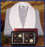 Premium Truffles in Red Lacquer Box 8 Piece & Italian Waffle Robe with Shawl Collar. Truffles Are Made Using Over 99% Organic Ingredients and Are Hormone & GMO Free