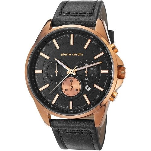 Pierre Cardin LE VAISSEAU reloj de pulsera para hombre acero inoxidable Oro Rosa piel de colour negro analógico de cuarzo PC107021F04