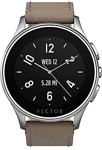 Vector Watch Smartwatch with 30 Day Battery Life - Luna-Brushed Steel/Tan Leather