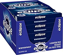 Eclipse Sugar Free Gum, Winterfrost, 18 Piece Packages (Pack of 8)