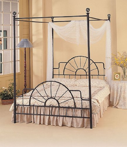 Coaster Queen Size Canopy Bed w/ Bed Frame in Black Wrought Iron & Cheap Coaster Queen Size Canopy Bed w/ Bed Frame in Black Wrought ...