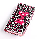 Fashion Youth Series Cute Design Bow Bowknot Leopard Print Wallet Flip Case Folio PU Leather Stand Cover with Card Slots for Samsung Galaxy S4 Mini i9190 + Free Lovely Gift
