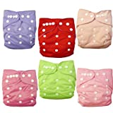 Alva Baby Double Rrows Of Snaps 6pcs Pack Fitted Pocket Washable Adjustable Cloth Diaper With 2 Inserts Each (...