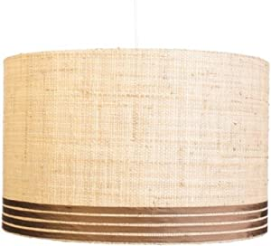 Jamie Young 5BDRUM-T13XL Extra Large Banded Drum Pendant, Raffia with Chocolate Trim
