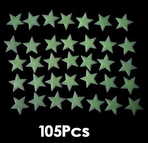 SODIAL (R) colore 105pcs Glow In The Dark Stars luminoso fluorescente autoadesivi della parete della decalcomania nuovo