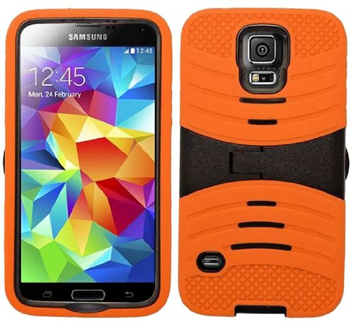 Mylife (Tm) Flame Orange And Black - Shockproof Survivor Series (Built In Kickstand + Easy Grip Ridges) 2 Piece + 2 Layer Case For New Galaxy S5 (5G) Smartphone By Samsung (Internal Flex Silicone Bumper Gel + Internal 2 Piece Rubberized Fitted Armor Prote