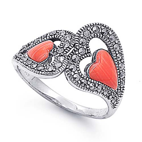 Rhodium Plated Sterling Silver Wedding & Engagement Ring Heart Shape Marcasite Ring 12MM ( Size 5 to 9) Size 6