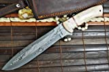 Outstanding Value - Custom Handmade Damascus Hunting Knife - Bowie Knife - Mammoth Bone Handle