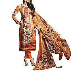 Bhelpuri Women Light Orange Cotton Dress Material