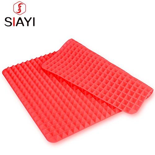 SIAYI(しあい) シリコンマット オーブン 電子レンジ 対応 焼け焦げ防止シート 水洗い可能 繰り返し使用可能 エコなクッキングマット (赤い)