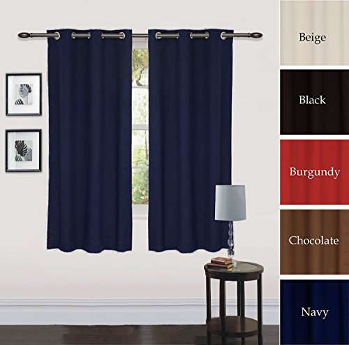Grommet Curtain Window Panel Drapes Navy 2 Panel Set 30 Inch Wide By 63 Inch Long Each