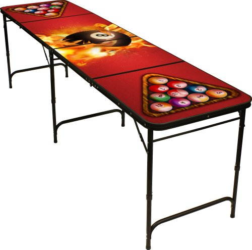 8 Ball Fire Beer Pong Table 8ft - Premium HD Design - Black Aluminum with Ball Rack & 6 Pong Balls!