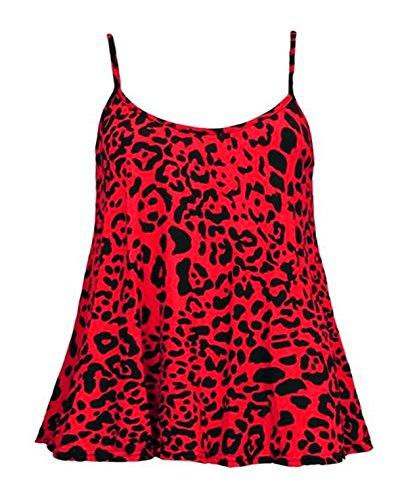 Glamour Babe-Canotta da donna, maculato Rot - Red-Leopard  L/XL