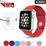 Apple Wtach Band GreenElec Free Tempered Glass Soft Silicone Replacement Sport Strap IWatch Band For Apple Watch... - B01HCH4Z18