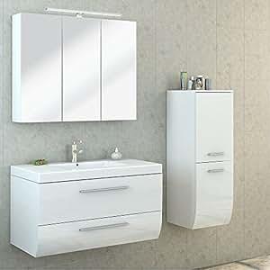 bad m bel set hochglanz badezimmer spiegel schrank waschbecken unterschrank led wei. Black Bedroom Furniture Sets. Home Design Ideas