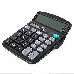 Civetta Office Desktop Calculator 12 Digits Plastic Buttons Dual Power Solar Large Display Electronic Calculator Black