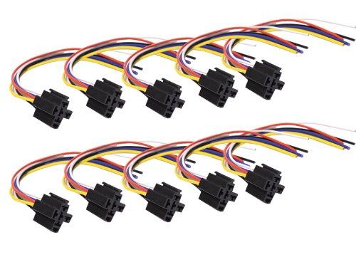 Absolute Usa 5-Pin 12 Vdc Interlocking Relay Socket, 10 Set