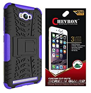 Chevron Tough Hybrid Armor Back Cover Case with Kickstand for Asus ZenFone Max with HD Screen Guard (Purple)