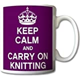 Keep Calm And Carry On Knitting Mug Cup Gift Retro