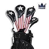 CRAFTSMAN(クラフツマン)ゴルフヘッドカバー ウッドカバー ゴルフ アメリカ風 三片式設計 ブラック (3+UT)