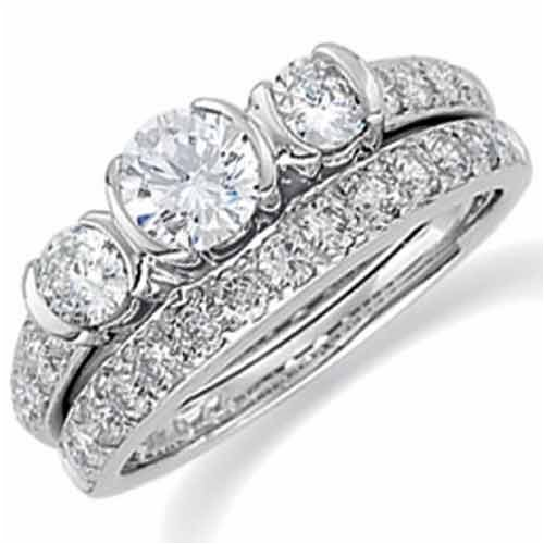 14Kt White Gold Ladies Diamond Wedding Ring Set (Center stone is not included)