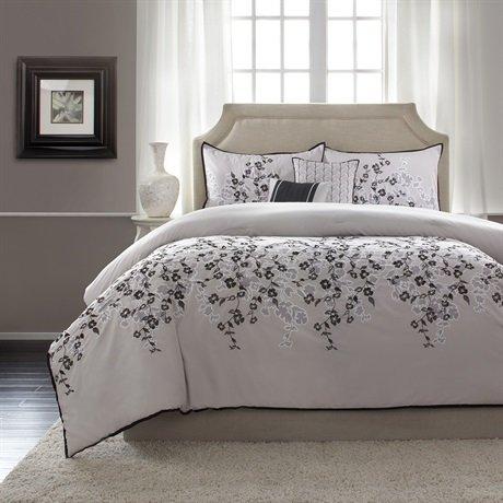 Home Essence Grace 5 Piece Comforter Set - Grey - Queen front-171883