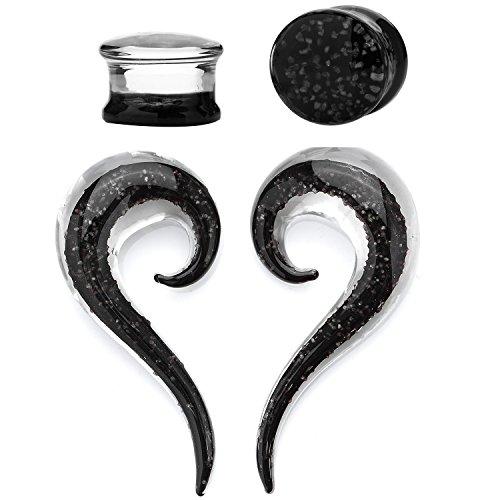 0 Gauge Black Ink Glow in the Dark Teardrop Glass Spiral Taper (8mm) - 4 Pieces (Glow In The Dark 0 Gauge Plugs compare prices)