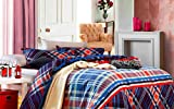 Bellagio Checks n Stripes Cotton 1 Double Bed Sheet & 2 Pillow Covers (Blue)