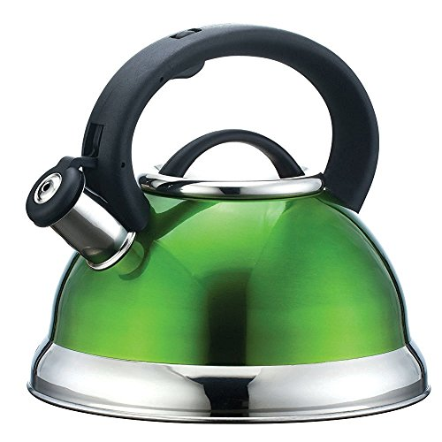 Whistling Tea Kettle - Premiun Quality Stainless Steel color tea kettle (Green) 2.95-Quart by Basic Finds (Green Floral Tea Kettle compare prices)