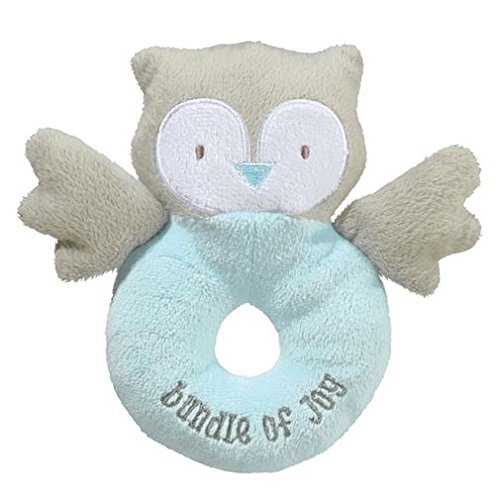 "Grasslands Road 6"" Owl Plush Rattle ~ Blue, ""Bundle of Joy"""